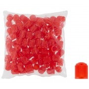 Plastikowe kapturki na zawory, czapeczki czerwone - 100 szt - czerwony