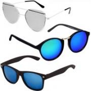 GreatDio Round, Cat-eye, Wayfarer Sunglasses(Blue, Silver)