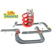 My first city parking toy play set with robot cars and lots of city street roads with 4 floors of parking - great gift