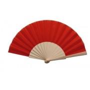 Red Fabric & Wooden Fan