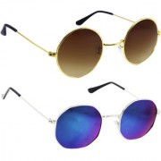 Derry Combo Of Bronze-Gold And Blue Mirror Sunglasses