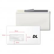 Plic DL, 110 x 220 mm, fereastra stanga 45 x 90 mm, alb, autoadeziv, 80 g/mp, 1000 bucati/cutie