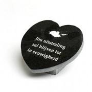 Gedenksteen Hart: Jouw uitstraling zal blijven tot in de eeuwigheid — Jasberg / Goud (nacalculatie) / Voorbeeld tekst