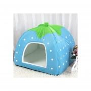 En Forma De Fresa Plegable Corta Plush Pet Casa Nido, Talla: S (azul)