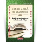 Teste grila de gramatica limbii romane si a limbii engleze dupa programa de admitere in Academia de politie