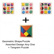 Puzzle - Wooden Geometric Shape Block (Assorted Any One) + Tangram Puzzles for Children - Learn Math, Shapes & Color Recognition - Early Development Educational Montessori Toys by KARP
