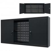 vidaXL fekete fém fali szerszámos szekrény 120 x 19 x 60 cm