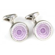 Mousie Bean Enamelled Cufflinks New Shaded Round 161 Purple