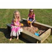 1.5m x 1m Wooden Sand Pit 27mm - 295mm Depth with Play Sand and Wooden Lid