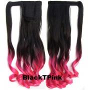 Culík - cop vlnitý s omotávkou- Ombre styl (odstín Black T Pink) - Světové Zboží