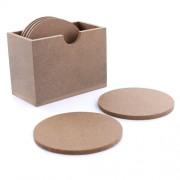Suport din lemn pentru pahare, set 6 buc. in cutie