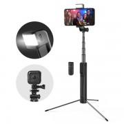 Selfie Stick Tripod BlitzWolf 3 in 1 cu Telecomanda Bluetooth detasabila si lanterna