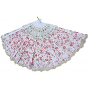 DCS Foldable Floral Print White Hand Fan(Pack of 1)