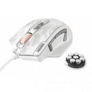 Мишка Trust GXT 155W, оптична (4000 dpi), гейминг, 11 бутона, USB, бяла (камуфлаж)