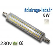 Ampoule LED R7S slim 8w smd 2835 118mm blanc naturel 230v ref r7s-10