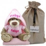 Samengestelde merken Knuffel bella met badcape babyroze en naam