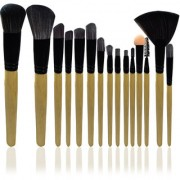 Adbeni Imported 15PCs Synthetic Wooden Face Eye Lip Wallet Makeup Brush Set