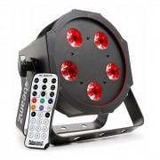 Beamz Foco LED 4-en-1 BFP120 FlatPAR, 5x 8W LED RGBW DMX, mando a distancia por IR (Sky-151.213)