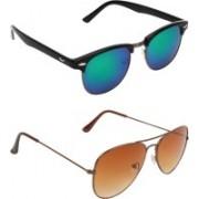 Zyaden Clubmaster, Aviator Sunglasses(Multicolor, Brown)