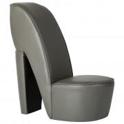 vidaXL Стол във форма на обувка на висок ток, сив, изкуствена кожа