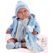 Lalo síró újszülött baba kék kardigánban 40 cm