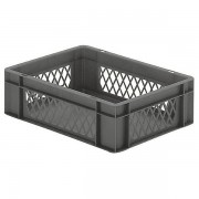 Certeo Euro-Format-Stapelbehälter, Wände durchbrochen, Boden geschlossen - LxBxH 400 x 300 x 120 mm - grau, VE 5 Stk