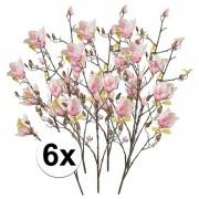 Bellatio flowers & plants 6x Roze Magnolia kunstbloemen tak 105 cm