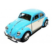 1:32 Scale 1967 Volkswagen Classical Beetle Ivory Door Classic Car Toy, Pink (5-inch) (Blue)