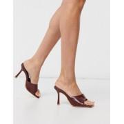 Public Desire Harlow square toe mule sandals in brown croc - female - Brown - Size: 8