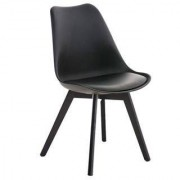 Sediadaufficio Sedia di Design per Ospiti BOSFORO, stile rétro con base in legno e seduta in pelle nera