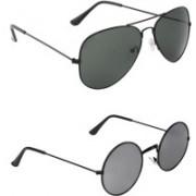 Zyaden Aviator, Round Sunglasses(Silver, Black)