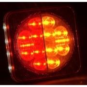 Lampa stop auto patrata LED cu 4 functii Pozitie/Frana, Semnalizator, Ochi pisica si Iluminare numar - 12/24V