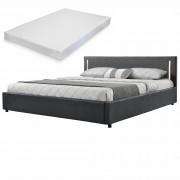 Двойно легло Corium®, Серия My.bed с вертикално LED-es осветление и матрак, 140x200cm, с подматрачна рамка, Изкуствена кожа, Тъмносив/Сив