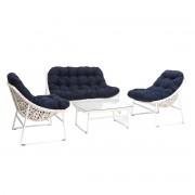 Salón de jardín en resina trenzada azul oscuro y blanco con mesa de centro COMFY - Miliboo