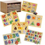 Cp Toys Puzzle Storage Case With 6 Knobbed Wooden Puzzles