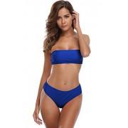Shekini Mujer Conjunto de Bikini Halter de Dos Piezas y Traje de baño para Bandeau (L, Azul Polar)