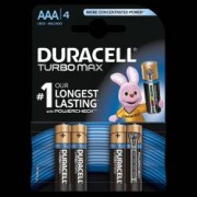 Baterii alcaline AAA R3 Duracell Turbo Max 1 5 V blister 4 baterii