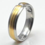 Inel magnetic cu zirconiu, placat cu aur mat cod VOX 3696
