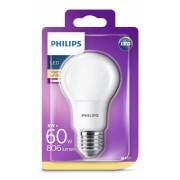 Bec LED Philips 8W (60W), E27, alb cald, nedimabil, temperatura culoare 2700k, 806 lumeni, 220-240V, durata de viata 15.000 ore