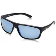 Arnette AN4225 Burnout anteojos de sol rectangulares para hombre, Negro mate/Espejo azul polarizado., 64 mm