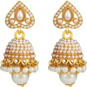 Spargz Ethnic Gold Plated Traditional Pearl Jhumka Earrings For Girls & Women