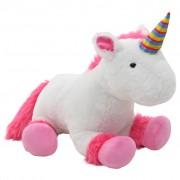 vidaXL Плюшена играчка еднорог, плюш, розово и бяло
