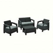 Set mobilier gradina rattan Curver Corfu Anthracit/Cool Grey
