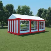 vidaXL Pavilion grădină, roșu și alb, 3 x 6 m, PVC