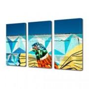 Tablou Canvas Premium Abstract Multicolor Pasare Colorata Desenata Pe Un Zid Decoratiuni Moderne pentru Casa 3 x 70 x 100 cm