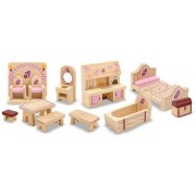 Generic Princess Castle Wooden Dollhouse Furniture 12pc