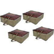 PRAHAN INTERNATIONAL Non Woven Blanket Cover Bag With Handle Pack Of 4 PI-C4B003(Beige)