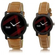 Mark Regal Round Dial Brown Leather Strap Couples Watches combo Of 2pcs