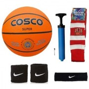 Cosco Super Basketball (Size-7) with Air Pump Black Head Band Free Pair of Wrist Band Soccer Socks