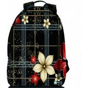 Sleevy laptop rugzak 17,3 Deluxe zwart met beige/rode bloemen